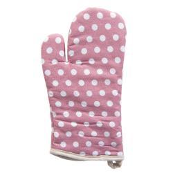 Růžová bavlněná kuchyňská chňapka s puntíky - 14*32 cm