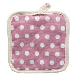 Růžová bavlněná podložka pod hrnec s puntíky -  16*16 cm