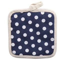 Tmavě modrá bavlněná podložka pod hrnec s puntíky -  16*16 cm