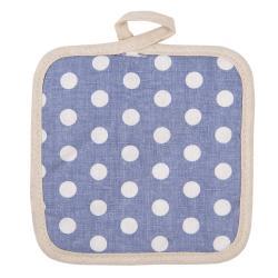 Světle modrá bavlněná podložka pod hrnec s puntíky - 16*16 cm