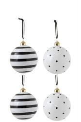 J-Line by Jolipa Bílo-černé puntíkaté a pruhované ozdoby - 4ks- Ø 10 cm