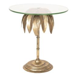 Zlatý dekorační podnos se skleněným tácem - Ø 30*32 cm