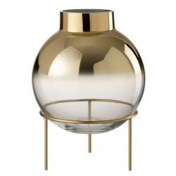 Zlatá baňatá váza na noze - 22*22*30 cm