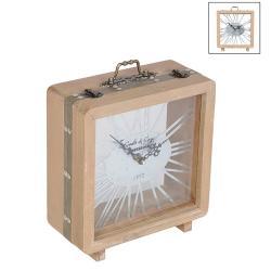 Stolní hodiny v dřevěném kufru - 22*10*25 cm / 1*AA