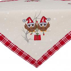 Vánoční ubrus se sovičkami - 85*85 cm