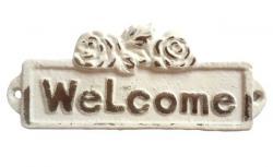 Bílá litinová cedulka Welcome - 13*1*5 cm