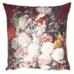 Vínový sametový povlak na polštář s květy - 45*45 cm