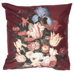 Vínový sametový povlak na polštář s květy I - 45*45 cm