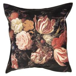 Černý sametový povlak na polštář s květy - 45*45 cm