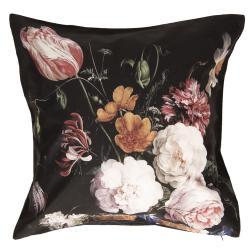 Černý sametový povlak na polštář s květy I - 45*45 cm