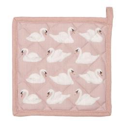 Růžová podložka pod hrnec s labutěmi - 20*20 cm