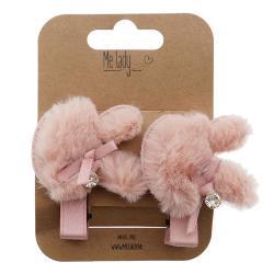 2ks růžové chlupaté sponky do vlasů králík - 4 cm