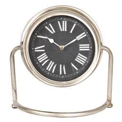 Stolní hodiny se stříbrným kovovým rámem a římskými číslicemi - 30*13*28 cm