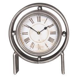 Vintage stolní hodiny s kovovým rámem a římskými číslicemi - 28*12*36 cm