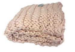Růžový pletený pléd s velkými oky Roseold - 130*170cm