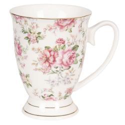Bílý květovaný hrneček Garden - 11*8*10 cm / 0,3L