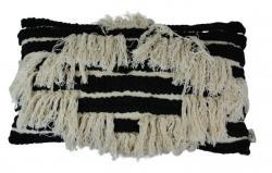 Černo-krémový polštář s třásněmi Boho  - 30*50cm