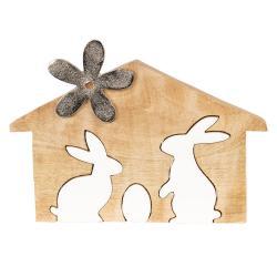 Dřevěná velikonoční dekorace Králíci v domečku - 26*17*2 cm