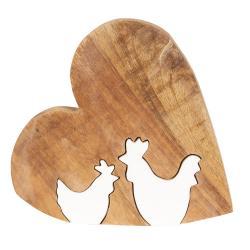 Dřevěná velikonoční dekorace Srdce s kohoutky - 23*22*2 cm