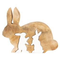 Dřevěná velikonoční dekorace Králíci - 17*14*2 cm