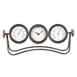 Kovové stolní hodiny s teploměrem a vlhkoměrem - 42*9*18 cm/3xAA