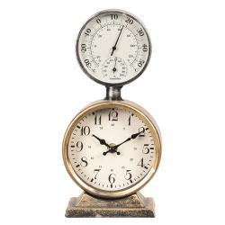 Kovové stolní hodiny s teploměrem - 13*6*27 cm/2xAA