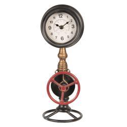 Industriální stolní hodiny s tlakoměrem - 14*14*37 cm/1xAA