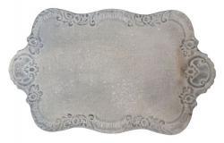 Šedý plechový vintage podnos - 45*27cm