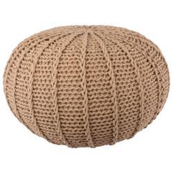 Béžový bavlněný pletený puf Ramo - Ø80*35 cm