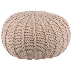 Přírodní bavlněný pletený puf Ramo - Ø80*35 cm