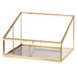 Skleněná šperkovnice se zlatým kovovým lemováním - 20*17*13 cm