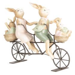 Dekorace králíků na kole - 10*9*25 cm