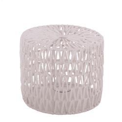 Bílé provázkové stínidlo na stolní lampu Luca cylinder - Ø 25*21,5cm / E27