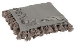 Bavlněný šedý pléd Moroccan s třásněmi - 130*180 cm
