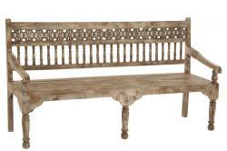 J-Line by Jolipa Dřevěná vyřezávaná lavice s patinou Morocco - 176*54*97cm