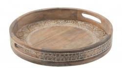 Veliký dřevěný podnos s uchy - Ø 51*7,5 cm