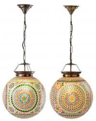 2ks barevná skleněná závěsná světla Mosaic - Ø37*40cm