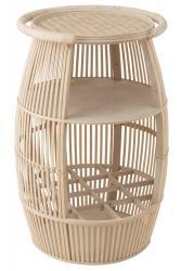 J-Line by Jolipa Dřevěný odkládací stolek s plochou na láhve Barrel - Ø52*78cm
