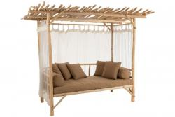 J-Line by Jolipa Venkovní pohovka na dřevěné konstrukci se záclonkami Loveseat - 200*100*212 cm