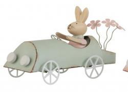 Retro dekorace králíček v zeleném autě - 17*7,5*9,5cm