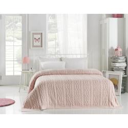 Světle růžový přehoz přes postel Knit, 220 x 240 cm