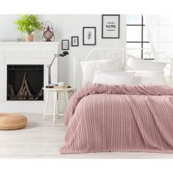 Pudrově růžový přehoz přes postel Camila, 220 x 240 cm