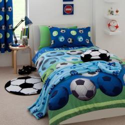 Modré dětské povlečení Catherine Lansfield Football, 135x200cm