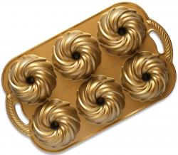 Forma na 6 minibábovek Nordic Ware Swirl, zlatá, 710 ml