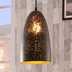 Lindby Černo-zlatá závěsná lampa Tola z kovu