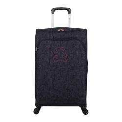 Fialové zavazadlo na 4 kolečkách Lulucastagnette Teddy Bear, 71l