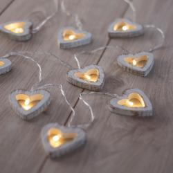 LED světelný řetěz ve tvaru srdíček DecoKing Heart, 10 světýlek,délka1,65m