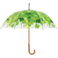 Transparentní větruodolný holový deštník se zelenými detaily Esschert Design Ambiance Birdcage Leaf, ⌀92,5cm