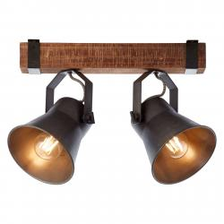 Brilliant Stropní světlo Plow, černá/dřevo tmavé