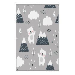 Šedý dětský protiskluzový koberec Homefesto Bears,80x120cm